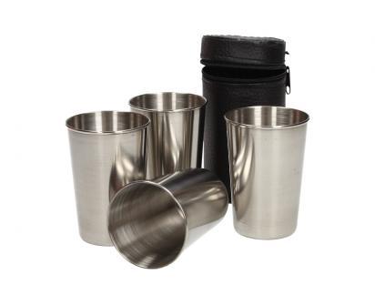 Velké kovové nerez panáky na alkohol 8x6 cm 4 kusy v pouzdře