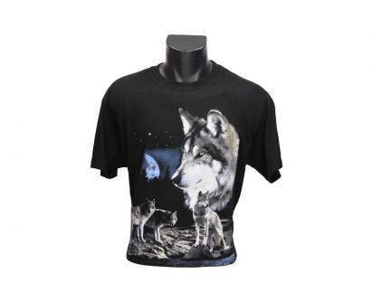 Tričko s vlky při úplňku