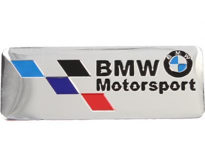 Kovová samolepka BMW Motorsport stříbrná 8x3 cm