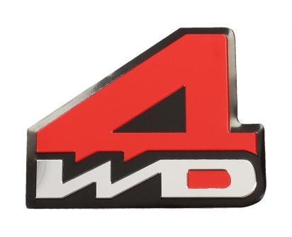 Kovová samolepka 4WD červená 7 x 5,5 cm