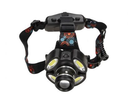 Nabíjecí čelovka s pětí LED COB světlomety