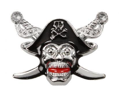 Kovová samolepka pirátská lebka