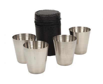 Mini kovové nerez panáky na alkohol 4 x 3,5 cm 4 kusy