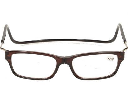 Dioptrické brýle s magnetem hnědé +3,00