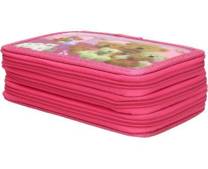 Třípatrový plně vybavený penál 3D Růžový