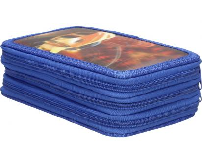 Třípatrový plně vybavený penál 3D Modrý