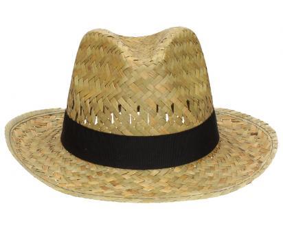 Slaměný kovbojský klobouk s černým páskem malý