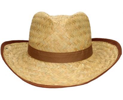 Slaměný kovbojský klobouk s hnědým páskem