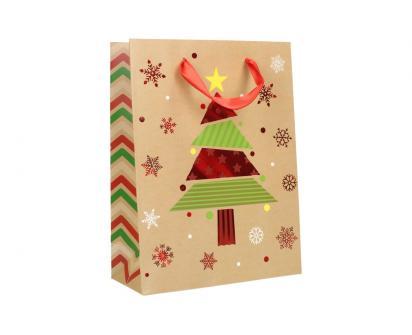 Dárková vánoční taška se stromečkem 24x18 cm