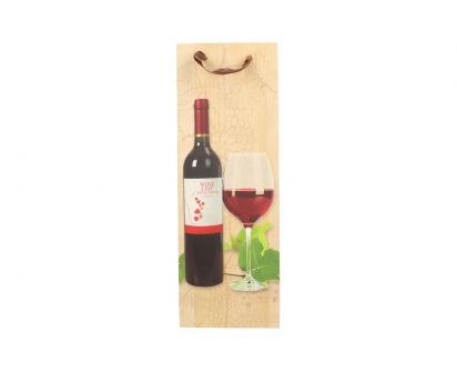 Dárková taška na víno s dřevěným pozadím  36x12 cm