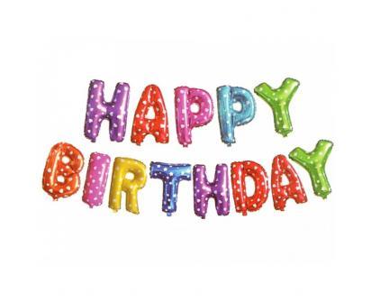 Balónky Happy Birthday S 17´´ Barevné