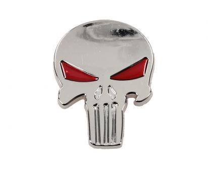 Samolepka stříbrná lebka vetřelec s očima