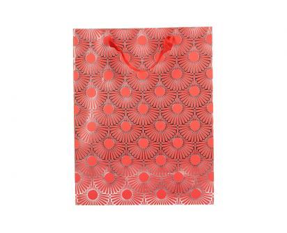 Dárková taška Kytky červená 23x18 cm