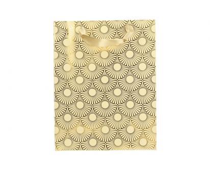 Dárková taška Kytky zlatá 23x18 cm
