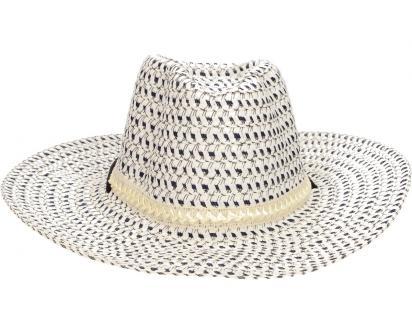Slaměný kovbojský klobouk modro-bílý s pleteným páskem