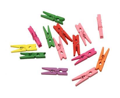 Dřevěné barevné mini kolíčky sada 15 kusů