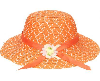 Dětský klobouk s kytičkou oranžový
