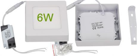LED stropní panel 6W nezápustný čtvercový