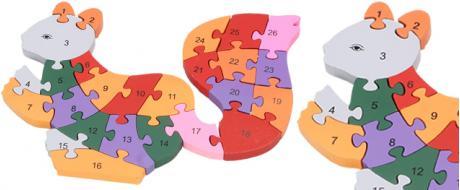 Dřevěné puzzle barevná veverka 26 dílků