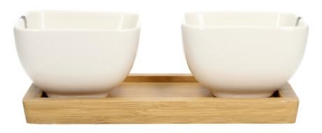 Miska porcelánová 2 ks a dřevěný tácek
