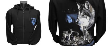 Mikina na zip s vlky za úplňku