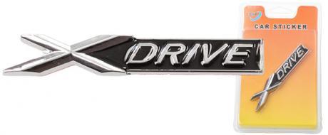 Kovová samolepka X drive černá
