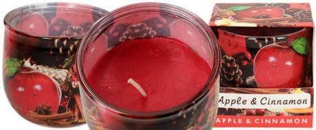 Vonná svíčka červené jablko a skořice