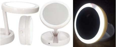 Oboustranné zrcátko s LED podsvícením