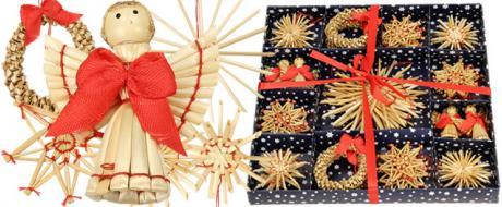 Vánoční slaměné dekorace na stromeček 26 kusů