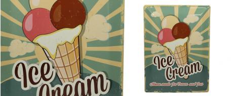 Plechová cedule Ice Cream Home made (30x39,5 cm)