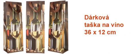 Dárková taška na víno různé druhy vín 36x12 cm