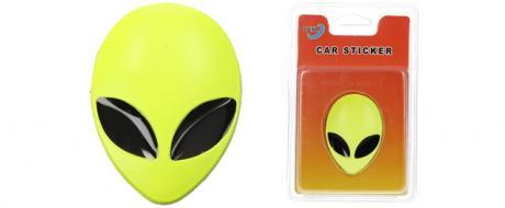 Kovová samolepka žluté UFO 3,7cm x 5cm