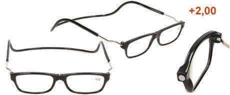 Dioptrické brýle s magnetem černé +2,00