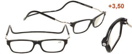 Dioptrické brýle s magnetem černé +3,50