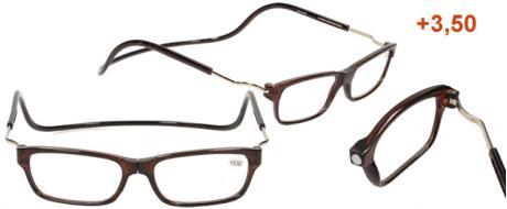 Dioptrické brýle s magnetem hnědé +3,50