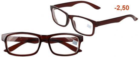 Dioptrické brýle pro krátkozrakost -2,50 hnědé