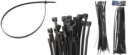 Stahovací pásky černé 5 x 350 mm, 50 kusů