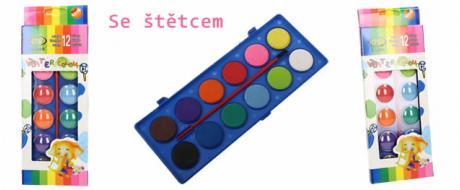Vodové barvy 12 barev se štětcem velké