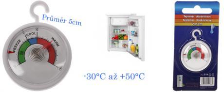 Teploměr do lednice či mrazáku kulatý -30°C až +50°C