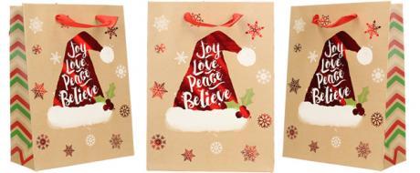 Dárková vánoční taška s čepicí 24x18 cm