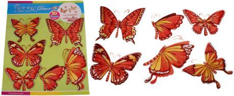 3D samolepky na zeď červení motýli 6ks