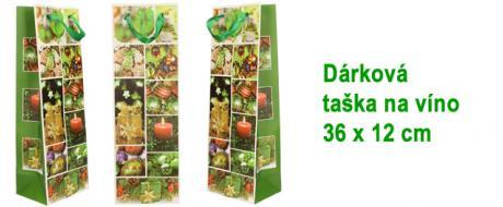 Dárková vánoční taška na víno zelená 36x12 cm