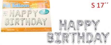 Balónky Happy Birthday S 17´´ Stříbrné