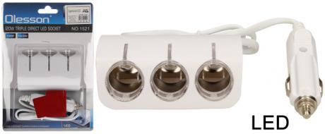 Roztrojka autozapalovače s LED světlem