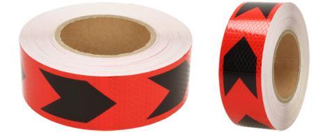 Reflexní lepící páska šipky červená-černá 8219