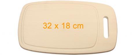 Krájecí prkénko dřevěné oválné 32x18 cm s drážkou a držadlem