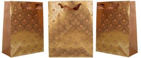 Dárková taška Kytky hnědá 23x18 cm