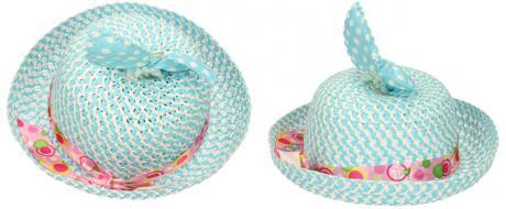 Dětský klobouk s mašličkou modrý