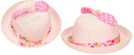 Dětský klobouk s mašličkou světle růžový