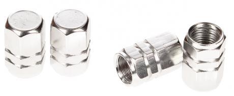 Ozdobné čepičky na ventilky sada 4 ks stříbrné